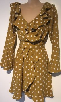 BOOHOO MUSTARD SPOTTY FRILL DRESS SIZE UK 10